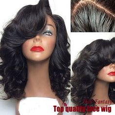 Lace Front Side Part Short Black Curly Wig
