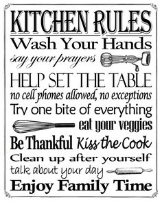 """Free Printable Friday! Enjoy this """"Kitchen Rules"""" Free Printable in an 8"""" x 10"""" sign."""