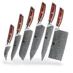 6 PCS JAPANESE CHEF'S KNIFE SET, GOOD RED HANDLE. Chef Knife Set, Knife Sets, Damascus Steel Chef Knife, Japanese Chef, Knife Holder, Stainless Steel, Knives, Chefs, Blade