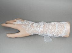 White lace wedding gloves fingerless  by AnitaHiltonweddings, £22.00