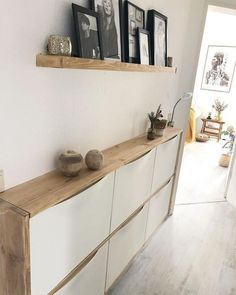 Ikea Hack, Floating Shelves, Entryway Tables, Narrow Entryway, Sweet Home, New Homes, House Design, Living Room, Interior Design