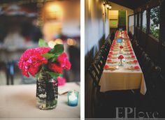 I love the paper flowers  and simple centerpieces.  Subtle latin flavor.