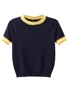 Shop Navy Striped Trims Ribbed Crop Top from choies.com .Free shipping Worldwide.$19.9