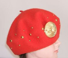 Red 100% Wool Beret with Nina Ricci Brooch.  Super fashionable.  As New Condition from Books and Bygones