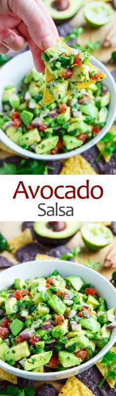 Salsa You won't want to stop once you start this delectable dip!You won't want to stop once you start this delectable dip! Mexican Food Recipes, Vegetarian Recipes, Cooking Recipes, Healthy Recipes, Enchiladas, Healthy Snacks, Healthy Eating, Clean Eating, Avocado Dessert