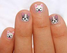 Nail Wraps by SoGloss on Etsy Dog Nail Art, Nail Art For Kids, Dog Nails, Minion Nails, Coffin Nails, Girls Nail Designs, Nail Art Designs, Animal Nail Designs, Nails Design