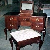 Dressing Table with Upholstered Bench