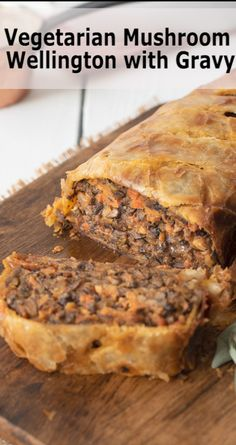 Chopped mushrooms, vegetables and herbs are shaped into a loaf and covered in puff pastry. You won't miss the meat in this Vegetarian Mushroom Wellington with Gravy. Beef Wellington, Good Food, Yummy Food, Puff Pastry Recipes, Ground Beef Recipes, Kraut, Kitchen Recipes, Popular Recipes, Vegetarian Recipes