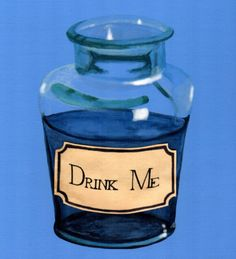 Alice in Wonderland art print of Drink Me bottle - matching Eat Me print also available