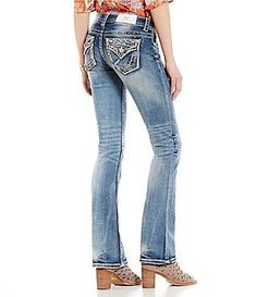 Miss Me Embroidered Stitched Pockets Stretch Bootcut Jeans