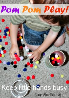Simple Toddler Activity: Pom Pom Play