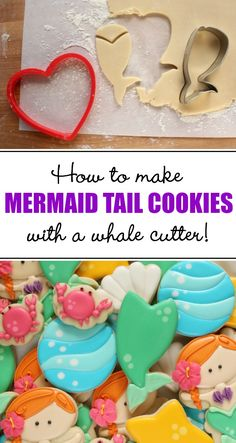 How to make mermaid tail cookies with a whale cutter via Sweetsugarbelle.com