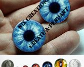 Glass Eyes - 24mm - Blue Zombie Human Doll Taxidermy Eyes Handmade Glass Cabochons for Steampunk Jewelry and Pendant Making