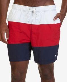 Nautica Men's Big & Tall Quick-Dry Colorblocked Swim Trunks - Red 2XLT