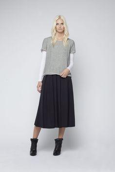 Metallic fleece tee, Electra worn with the Viscose faille beautiful palm skirt
