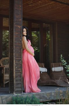 Pink; maternity shoot also gender reveal. Love this elegant photo as a gender reveal
