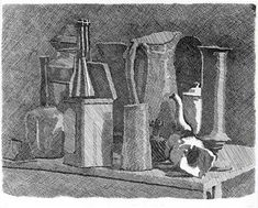 This is a piece done by Giorgio Morandi. It's a still life drawing that has some elements of cross hatching and shading. Still Life Drawing, Still Life Art, Italian Painters, Italian Artist, Illustration Art Nouveau, Art Watercolor, Cross Hatching, Gesture Drawing, Mass Drawing