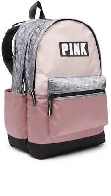 6d50b65b7f4 NWT Victoria Secret Pink Campus Backpack Perfectly Pink Cocoon Marl Grey  Mochila Maleta