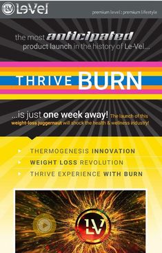 Get ready for Le-Vel new product BURN! Just one week away! Hooray, to The latest & Greatest Weight Loss Technology, ever! Check it out!
