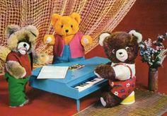 Vintage Postcard 60s bear band