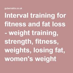 Interval training for fitness and fat loss