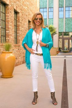 Turquoise Shawl Vest With White Jeans