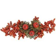 Vintage Miriam Haskell spezzati větev korálové květinové brože 1930
