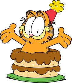Happy Birthday from Garfield jumping out of a cake! Garfield Pictures, Garfield Quotes, Garfield Cartoon, Garfield And Odie, Garfield Comics, Garfield Cake, Birthday Greetings For Women, Birthday Gifts For Teens, Friend Birthday