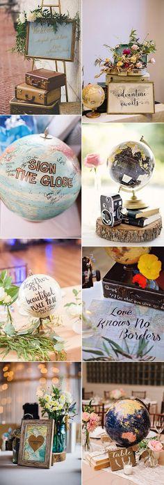 vintage travel themed wedding decoration ideas #weddingthemes #weddingideas #weddingdecor