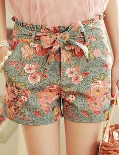 MLINA doces Denim Shorts Floral Impressão de 528035 2016 por $6.90
