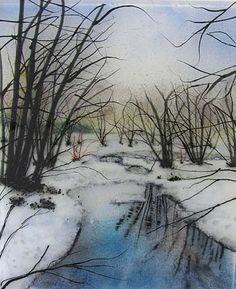 Winter Solitude, kiln-formed glass. Harbinger Gallery. Artist-Jerre Davidson