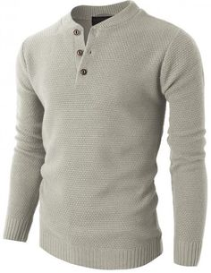 H2H Mens Basic Designed Various Color Knit Pullover Henley Sweater #H2H #HAVE2HAVE