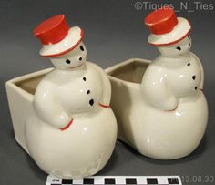 Pair 2 Vintage & Rare Holiday Snowman McCoy Pottery Floral Vases Planters (GG)