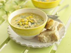 Chicken & corn chowder soup recipe is a great soup for your child's lunchbox. Chicken And Sweetcorn Soup, Chicken Corn Chowder, Corn Chicken, Chicken Soup, Chowder Recipes, Soup Recipes, Chowder Soup, Turkey Recipes, Sweet Corn Soup