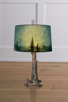 Bronze Tree Table Lamp with Large Drum Shade in Midnight Sky by Janna Ugone (Mixed-Media Table Lamp) Painting Lamp Shades, Painting Lamps, Eclectic Lamps, Lamp Shade Crafts, Rustic Lamps, Rustic Lamp Shades, Decorative Lamp Shades, Antique Lamps, Tree Table