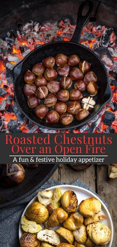 Roasting Fresh Chestnuts over an open fire is a fun and festive holiday appetizer. This is a complete how-to guide and recipe for making Roasted Chestnuts. An easy recipe for roasting chestnuts over an open fire of charcoal or embers. Vegan Bbq Recipes, Easy Bbq Recipes, Roast Recipes, Grilling Recipes, Appetizer Recipes, Easy Meals, Grilling Ideas, Skillet Recipes, Snack Recipes