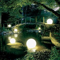 Phoenix Weatherproof Outdoor Patio Floor Light - awesome orbs to light up the landscape - pricey.