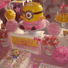 Minion girl birthday party! See more party planning ideas at CatchMyParty.com!
