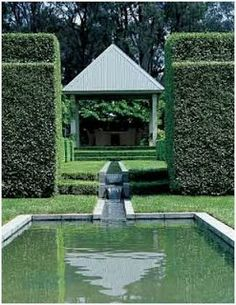 Paul Bangay - Garden Genius! Use symmetry and balance, such as a pool or large water interest set neatly in the centre of the garden or house. Use climbing plants on buildings to bring them into the landscape such as climbing roses clematis, Korean grape vine and climbing hydrangea.