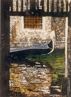 """canal entrance (10) 18"""" x 14"""" venice micheal zarowsky / watercolour on arches paper (private collection)"""