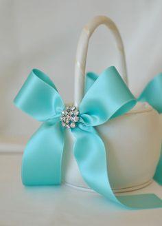 Ivory and Tiffany Blue Wedding Flower Girl Basket with Rhinestone Accents - Ivory Flower Girl Basket