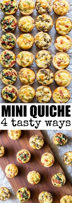 Mini Quiche 4 Ways Skip the store-bought and make your own Mini Quiche! Try these 4 tasty combos or choose your own adventure. Make ahead/freezer friendly and great for kids! via Culinary Hill The post Mini Quiche 4 Ways appeared… Continue Reading → Easy Brunch Recipes, Appetizer Recipes, Brunch Appetizers, Dinner Recipes, Breakfast Recipes, Mini Appetizers, Breakfast Finger Foods, Brunch Party Foods, Breakfast Ideas