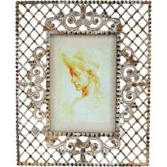 """Weathered metal picture frame with an openwork design.   Product: Picture frameConstruction Material: MetalColor: SilverFeatures: Holds one 4"""" x 6"""" photoAdds country-chic charm to any room Dimensions: 9.5"""" H x 7.5"""" W"""
