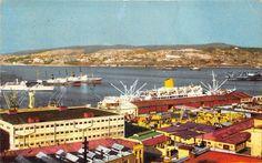 """""""#Valparaiso año 1960s en Molo de Abrigo se ve el Transportes Angamos y a su lado navescomerciales   xxx"""