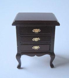 Beistelltisch Nachtschrank Mahagoni Puppenhaus Möbel Wohnzimmer Miniatur 1:12