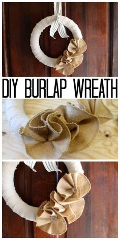 You will love this simple burlap wreath tutorial that takes just 15 minutes to make! A quick and easy way to make burlap flowers and add them to a wreath. Easy Burlap Wreath, Burlap Wreath Tutorial, Diy Wreath, Wreath Ideas, Rustic Crafts, Burlap Crafts, Diy And Crafts, Burlap Projects, Picture Wreath