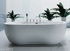 Free Standing Jetted Tubs   71x36 Free Standing Whirlpool Bath tub ~ 8 Water Jets / Aquatica - No ...