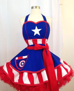 Delantal Pinup del Capitán América superhéroe. Traje de
