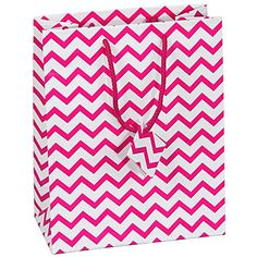 """10 pcs Large Chevron Pink Glossy Shopping Paper Gift Sales Tote Bags with Blank Message Tag 8"""" x 5"""" x 10"""" >>> Review more details here : Christmas Tag, Cards, Gift Boxes"""