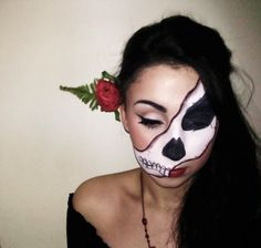 Cool take on the usual DOTD full face. #Day_of_the_Dead #costume #makeup #Halloween
